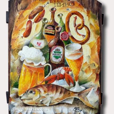 Рыба и пиво / Fisch und Bier, 55х40, дерево / Holz