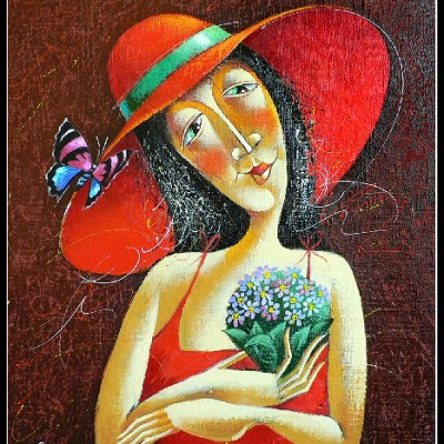 Дама в шляпе / Frau mit Hut, 60x46