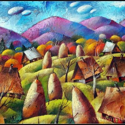 Осень. Стога. / Herbst. Heuschober, 50x61