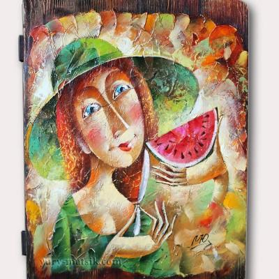 Долька арбуза / Wassermelone, 55х40, дерево / Holz