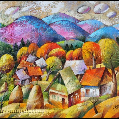 Осенний пейзаж / Herbst Landschaft 46х55